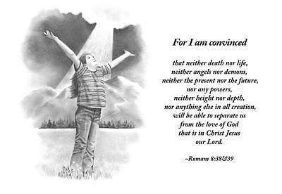 Bible Verse With Pencil Drawing Print by Joyce Geleynse