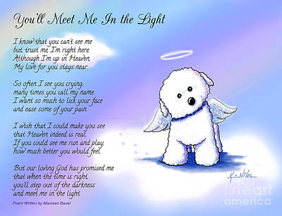 Dog Painting - Bichon Frise Angel With Poem by Kim Niles
