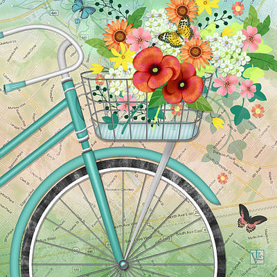 Bicycle Bouqet Print by Valerie Drake Lesiak