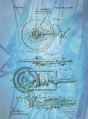 Bicycle Mixed Media - Bicycle Gear Patent Illustration by Dan Sproul