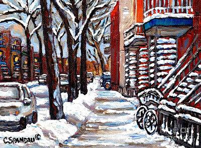 Montreal Memories Painting - Bicycle In The Snow Verdun Staircase Winter Paintings Best Montreal Art Canadian Scenes C Spandau by Carole Spandau