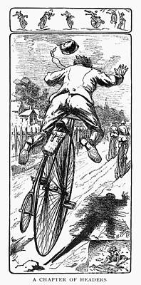 Penny Farthing Photograph - Bicycle Race Accident, 1880 by Granger