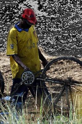 Bicycle Repair Kenya Watercolor Original by Joseph G Holland