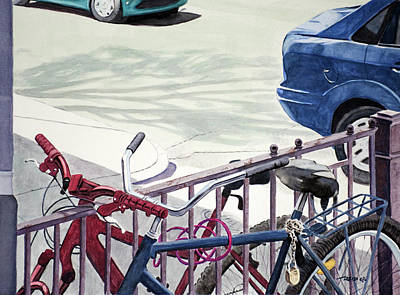 Watercolor Painting - Bicycles by Christopher Reid