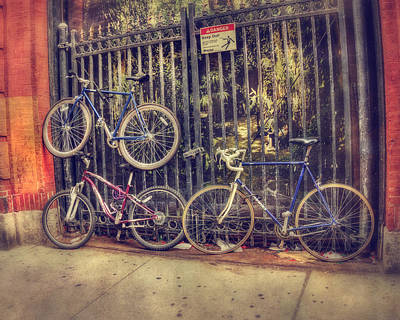 Nostalgia Photograph - Bicycles On A Fence - Boston North End by Joann Vitali