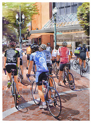 Mike Hill Painting - Bicycles On Broadway by Mike Hill