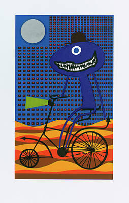 Cyclops Painting - Bicyclops By The Light Of The Silvery Moon In June Or Was It August by Tony Paine