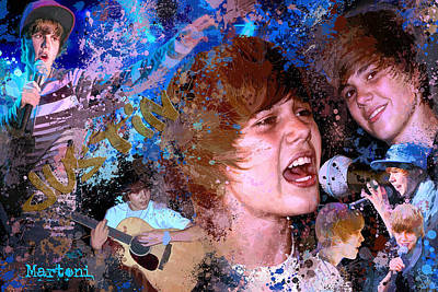 Bieber Painting - Bieber Fever Tribute To Justin Bieber by Alex Martoni