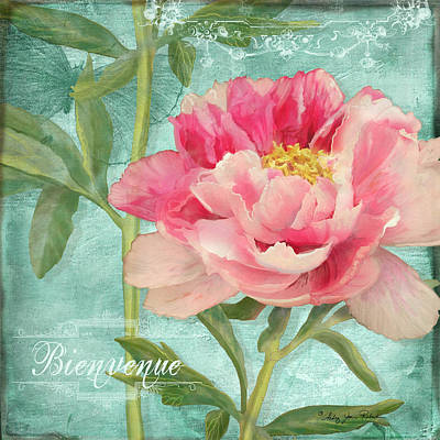 Etching Mixed Media - Bienvenue - Peony Garden by Audrey Jeanne Roberts