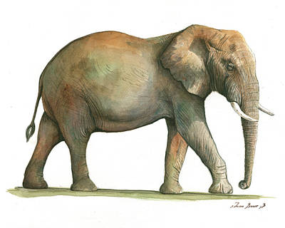 Elephant Painting - Big African Male Elephant by Juan Bosco