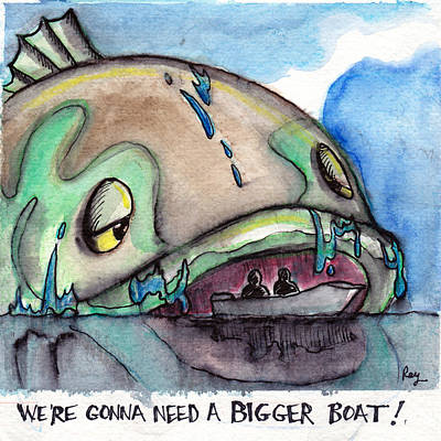 Bass Fishing Drawing - Big Bass Boat by Ray Hofstedt