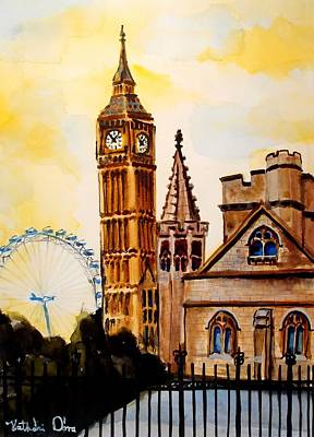 Big Ben And London Eye - Art By Dora Hathazi Mendes Original by Dora Hathazi Mendes