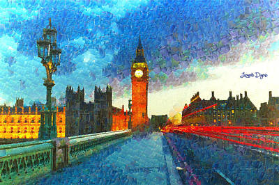 Road Painting - Big Ben At Night - Pa by Leonardo Digenio