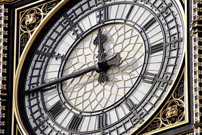 Midday Photograph - Big Ben Clock Face, London, Uk by Johnny Greig