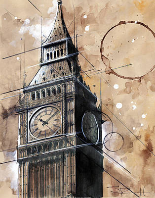 Big Ben Drawing - Big Ben by Sean Parnell