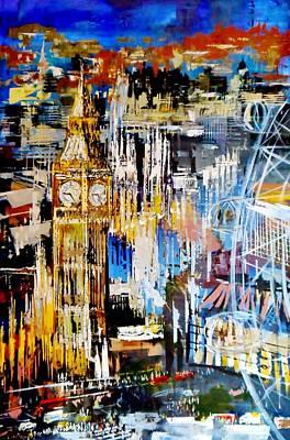 London Skyline Painting - Big Ben Westminster And London Eye Painting 4808 by Eraclis Aristidou