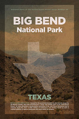 National Parks Mixed Media - Big Bend National Park In Texas Travel Poster Series Of National Parks Number 04 by Design Turnpike