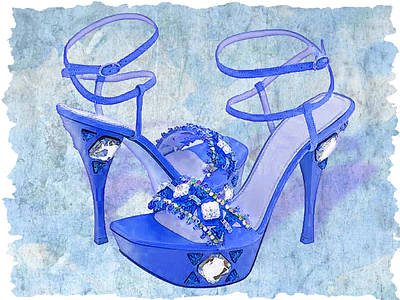Stilettos Painting - Big Blue Bling  by Elaine Plesser