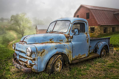 Red Roof Photograph - Big Blue Dodge by Debra and Dave Vanderlaan