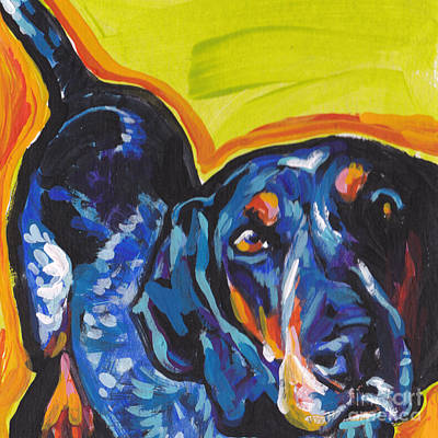 Coonhound Painting - Big Blue Ear Baby by Lea S