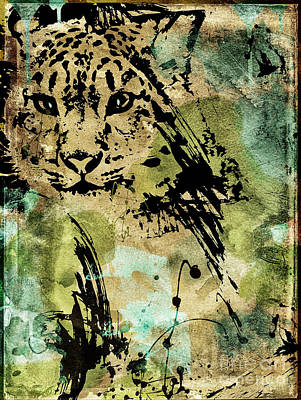 Drippy Painting - Big Cat by Mindy Sommers