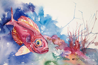 Sealife Art Painting - Big Eye Squirrelfish by Tanya L Haynes - Printscapes