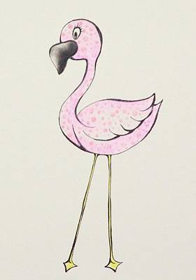 Flamingo Drawing - Big Eyes by Tessa Easley
