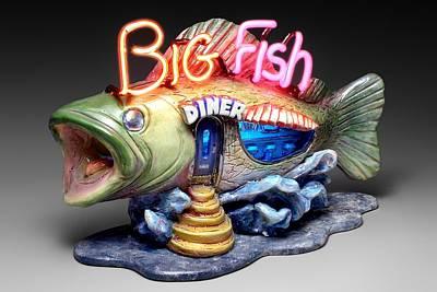 Ceramic Mixed Media - Big Fish Diner  by Jerry  Berta