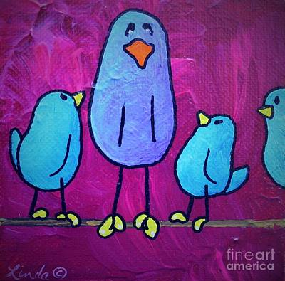 Limbbirds Painting - Big Little Brother by LimbBirds Whimsical Birds