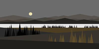 Minimalist Landscape Digital Art - Big Moon by Val Arie