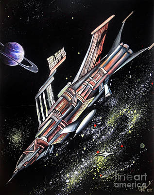 Big, Old Space Shuttle Of Dead Civilization Print by Sofia Goldberg
