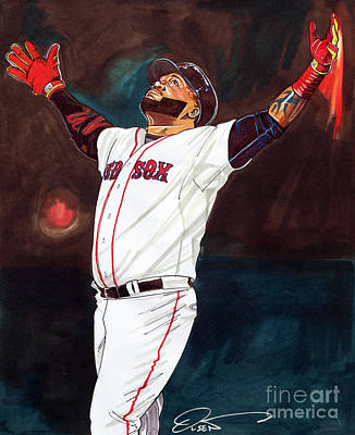 Boston Red Sox Drawing - Big Papi David Ortiz by Dave Olsen