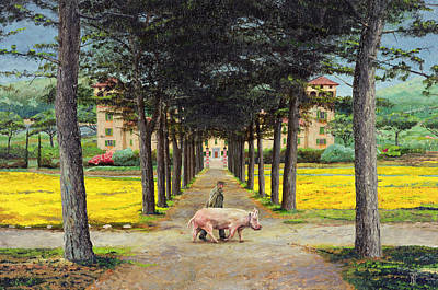 Italian Villas Painting - Big Pig - Pistoia -tuscany by Trevor Neal