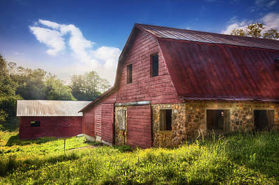 Big Red Barn In The Field Print by Debra and Dave Vanderlaan