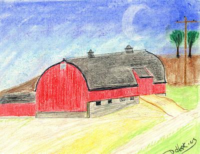 Old Barn Drawing - Big Red Barn by John Hoppy Hopkins