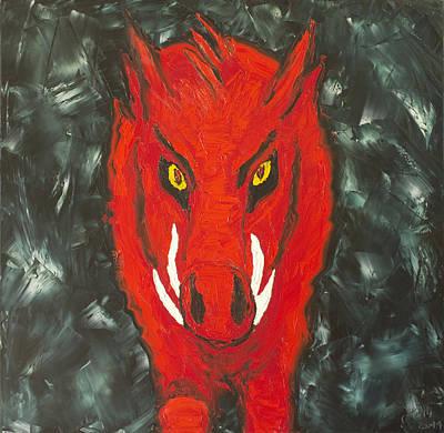 University Of Arkansas Painting - Big Red by Beth Lenderman