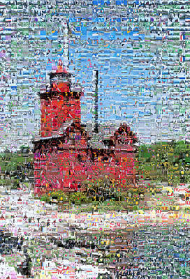 Red Photograph - Big Red Photomosaic by Michelle Calkins