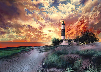 Lake Michigan Digital Art - Big Sable Lighthouse by Bekim Art