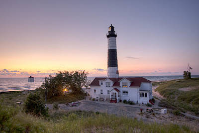 Historic Photograph - Big Sable Point Lighthouse At Sunset by Adam Romanowicz