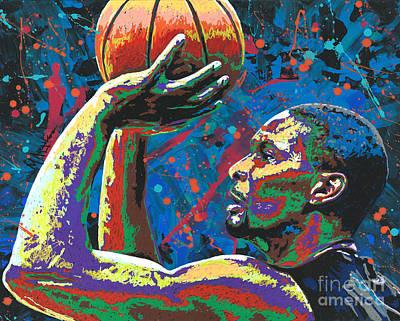 Mr. Basketball Painting - Big Shot Bosh by Maria Arango