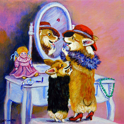 Cartoon Animals Painting - Big Sis Little Sis by Lyn Cook