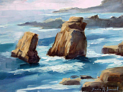 Iconic Painting - Big Sur Might by Karin  Leonard