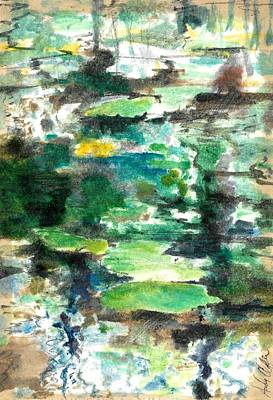 Waterscape Painting - Big Too Much Lilly Pads  by Andrew Claflin