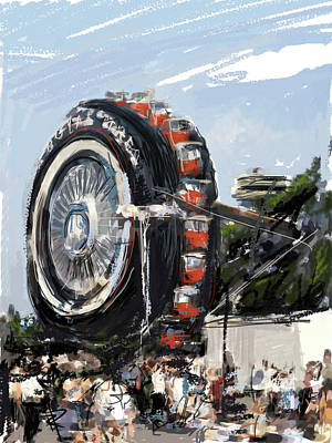 Amusements Mixed Media - Big Wheel In The Sky by Russell Pierce
