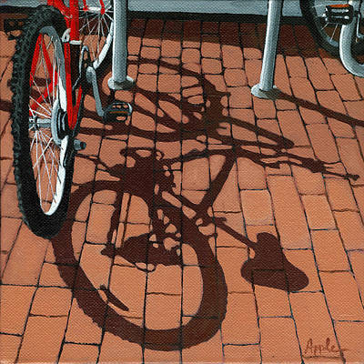 Bicycle Art Painting - Bike And Bricks  by Linda Apple