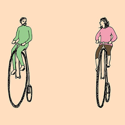 Bike Drawing - Bike Buddies by Karl Addison