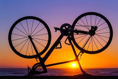 Handlebar Photograph - Bike On Seawall by Garry Gay