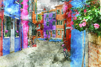 Bike On The Wall On The Island Of Burano - Venice, Italy Print by Brandon Bourdages