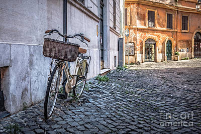 Bike With Basket On Streets Of Rome Print by Edward Fielding