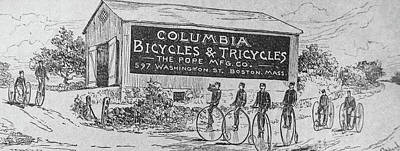 Tricycle Drawing - Bikers On Antique Bikes by Douglas Barnett